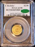 1831 37 $2 1/2 GOLD BECHTLER QUARTER EAGLE RUTHERFORD IN CIRCLE R7 PCGS AU58 CAC