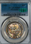 1936 WISCONSIN COMMEMORATIVE PCGS MS65 CAC APPROVED RAINBOW TONED  84378363