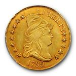 1799 $10 SMALL STARS OBVERSE DRAPED BUST EAGLE PCGS AU 55 EARLY US TYPE