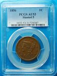 1856 LARGE CENT SLANTED 5 PCGS AU 53   MORE AT STORE