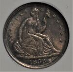 1838 SMALL STARS SEATED HALF DIME NGC MS 62 GORGEOUS COLOR  AAS0318