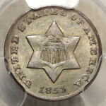 1851 O THREE CENT SILVER CHOICE ALMOST UNCIRCULATED  PCGS AU 55 ORIGINAL