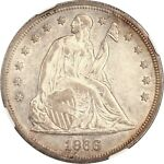 1866 SEATED LIBERTY DOLLAR IN AU 58 CONDITION BY NGC  1ST YEAR WITH MOTTO