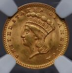 1874 GOLD $1 TYPE 3 LARGE HEAD PRINCESS NGC MS 62 QUITE NICE FOR THE GRADE