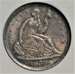 1838 SMALL STARS SEATED HALF DIME NGC MS 62 GORGEOUS COLOR  AAS0618