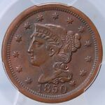 1850 LARGE CENT PCGS AU58 LOVELY EVEN BROWN WITH LOTS OF ORIGINAL MINT RED