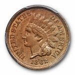 1862 1C INDIAN HEAD CENT PCGS MS 63 UNCIRCULATED US TYPE COIN