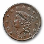 1834 1C CORONET HEAD CENT PCGS AU 58 SMALL 8 LG ST MED LT DOUBLED PROFILE