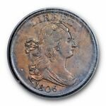 1806 DRAPED BUST HALF CENT PCGS AU 50 OLD RATTLER SMALL 6 NO STEMS