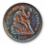 1860 SEATED HALF DIME H10C NGC PR 64 PROOF COLORFUL TONED BEAUTY
