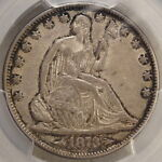 1873 ARROWS SEATED LIBERTY HALF DOLLAR WB 107 SMALL ARROWS ONLY PCGS COIN
