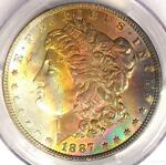 1887 TONED MORGAN SILVER DOLLAR $1   CERTIFIED PCGS MS63   NICE RAINBOW TONING