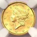 1851 LIBERTY GOLD DOLLAR COIN G$1   NGC UNCIRCULATED DETAIL UNC    MS COIN