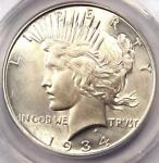 1934 D PEACE SILVER DOLLAR $1   ANACS MS60 DETAILS    DATE BU UNC COIN