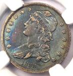 1838 CAPPED BUST QUARTER 25C COIN   CERTIFIED NGC XF DETAILS EF   RAINBOW TONE