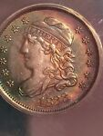 1833 CAPPED BUST HALF DIME ANACS AU55 SUBTLE MAGENTA & BLUE/GREEN TONING