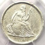 1837 SEATED LIBERTY DIME 10C NO STARS LARGE DATE   CERTIFIED PCGS AU DETAILS