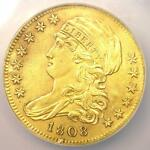 1808 CAPPED BUST GOLD HALF EAGLE $5   CERTIFIED NGC AU DETAIL    GOLD COIN