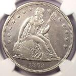 1863 SEATED LIBERTY SILVER DOLLAR $1   NGC AU DETAILS    CIVIL WAR DATE
