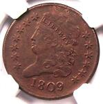 1809 CLASSIC HEAD HALF CENT 1/2C   NGC AU DETAILS    CERTIFIED COIN