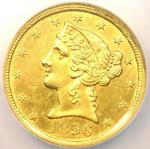 1856 C LIBERTY GOLD HALF EAGLE $5   NGC AU DETAILS    CHARLOTTE GOLD COIN