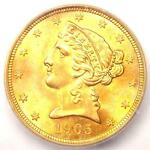 1905 S LIBERTY GOLD HALF EAGLE $5   CERTIFIED ICG MS65   $8,280 VALUE