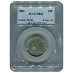 CERTIFIED SEATED LIBERTY QUARTER 1882 PR66 PCGS