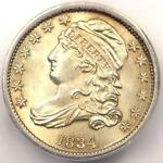 1834 CAPPED BUST DIME 10C   CERTIFIED ICG MS60 DETAILS  UNC BU    NICE LUSTER