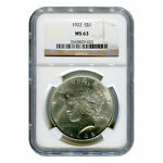 CERTIFIED PEACE SILVER DOLLAR MS63 NGC   RANDOM YEAR