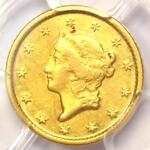 1849 O LIBERTY GOLD DOLLAR G$1   PCGS AU DETAILS     NEW ORLEANS COIN