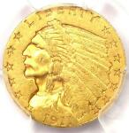 1911 D INDIAN GOLD QUARTER EAGLE $2.50 COIN WEAK D   PCGS AU53    KEY DATE