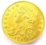 1812 CAPPED BUST GOLD HALF EAGLE $5 COIN   CERTIFIED ICG MS62  BU UNC