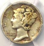 1942/1 D MERCURY DIME 10C   PCGS XF DETAILS  EF     OVERDATE VARIETY COIN