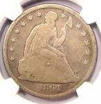 1864 SEATED LIBERTY SILVER DOLLAR $1   NGC VG DETAILS    CIVIL WAR DATE