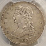 1837 CAPPED BUST HALF DOLLAR REEDED EDGE PCGS XF 45 WELL STRUCK