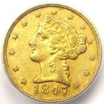 1847 C LIBERTY GOLD HALF EAGLE $5 CHARLOTTE COIN   ICG AU50   $3 410 VALUE