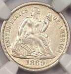 1869 S SEATED LIBERTY DIME 10C   NGC UNCIRCULATED    DATE BU MS COIN