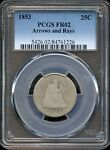 1853 SEATED LIBERTY QUARTER   PCGS FR02   ARROWS AND RAYS   CC773