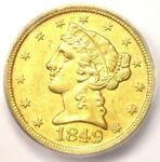 1849 D LIBERTY GOLD HALF EAGLE $5   ICG AU50    DAHLONEGA COIN   $3410 VALUE