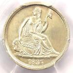1837 SEATED LIBERTY HALF DIME H10C NO STARS   PCGS UNCIRCULATED DETAILS  UNC MS
