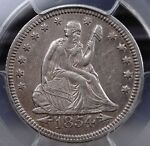 1854 WITH ARROWS SEATED LIBERTY QUARTER PCGS AU DETAILS CLEANED QUITE LUSTROUS
