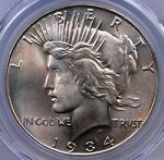 1934 PEACE DOLLAR PCGS MS64 PQ WITH PALE PEARLESCENT CASTE LOOKS GEM