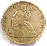 1867 S SEATED LIBERTY HALF DOLLAR 50C   CERTIFIED PCGS XF DETAILS    COIN
