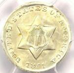 1851 THREE CENT SILVER PIECE 3CS   PCGS UNCIRCULATED DETAIL  MS UNC     COIN