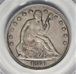 1866 S NO MOTTO SEATED LIBERTY HALF DOLLAR PCGS XF 40  KEY VARIETY  AOG0618