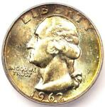 1962 WASHINGTON QUARTER 25C   CERTIFIED ICG MS67   $810 GUIDE VALUE IN MS67