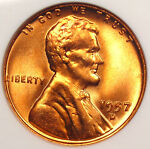 1957 D LINCOLN WHEAT CENT ANACS MS67 RD   PRICE GUIDE VALUE OF $500