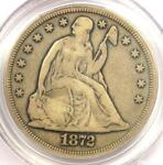 1872 CC SEATED LIBERTY SILVER DOLLAR $1 COIN   PCGS F15   $3 950 VALUE