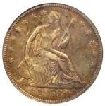 1853 ARROWS & RAYS SEATED LIBERTY HALF DOLLAR 50C   CERTIFIED ANACS XF45 DETAILS