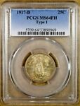 1917 D TYPE 1 PCGS MS64 FH STANDING LIBERTY QUARTER   FULL HEAD